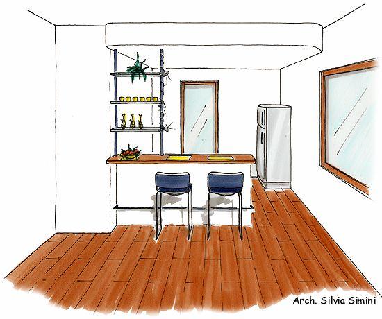 Progettazione arredamento - Banco colazione cucina ...